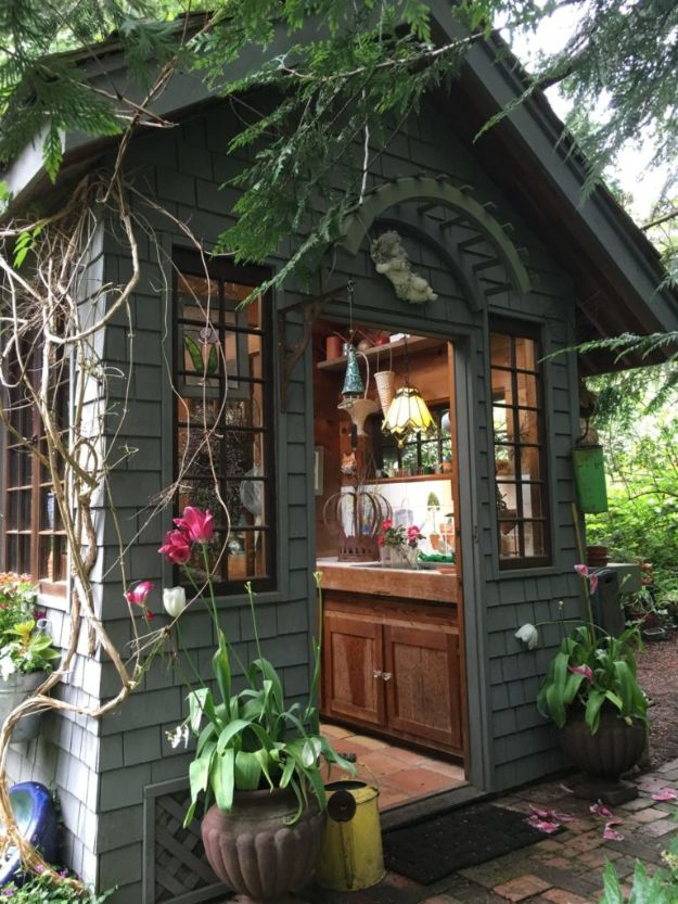 DIY Storage Sheds and Plans - Rustic Garden Shed - Cool and Easy Storage Shed Makeovers, Cheap Ideas to Build This Weekend, Basic Woodworking Projects to Add Extra Storage Space to Your Home or Small Backyard - How To Build A Shed With Pallets - Step by Step Tutorials and Instructions #storageideas #diyideas #diyhome