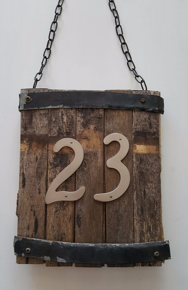 Farmhouse Decor to Make And Sell - Rustic House Number Sign - Easy DIY Home Decor and Rustic Craft Ideas - Step by Step Country Crafts, Farmhouse Decor To Make and Sell on Etsy and at Craft Fairs - Tutorials and Instructions for Creative Ways to Make Money - Best Vintage Farmhouse DIY For Living Room, Bedroom, Walls and Gifts #diydecor