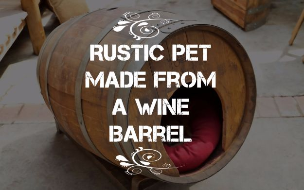 DIY Ideas With Old Barrels - Rustic Pet House Made From A Wine Barrel - Rustic Farmhouse Decor Tutorials and Projects Made With a Barrel - Easy Vintage Home Decor for Kitchen, Living Room and Bathroom - Creative Country Crafts, Dog Beds, Seating, Furniture, Patio Decor and Rustic Wall Art and Accessories to Make and Sell tp://diyjoy.com/diy-projects-old-barrels