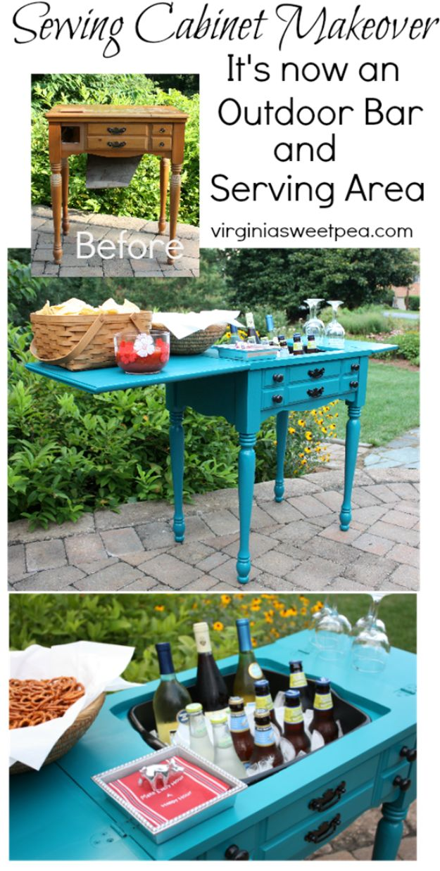 DIY Porch and Patio Ideas - Sewing Cabinet to Outdoor Bar - Decor Projects and Furniture Tutorials You Can Build for the Outdoors - Lights and Lighting, Mason Jar Crafts, Rocking Chairs, Wreaths, Swings, Bench, Cushions, Chairs, Daybeds and Pallet Signs