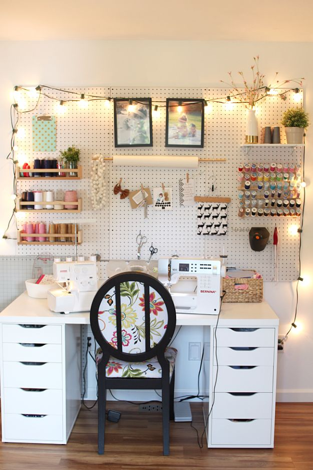 DIY Craft Room Ideas and Craft Room Organization Projects - Sewing Sanctuary Sewing Sanctuary - Cool Ideas for Do It Yourself Craft Storage, Craft Room Decor and Organizing Project Ideas - fabric, paper, pens, creative tools, crafts supplies, shelves and sewing notions http://diyjoy.com/craft-room-organizing-ideas