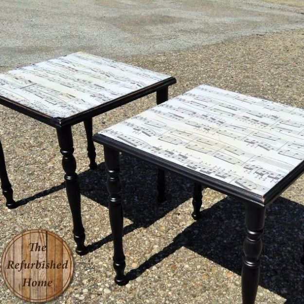 DIY Media Room Ideas - Sheet Music Table Makeover - Do It Yourslef TV Consoles, Wall Art, Sofas and Seating, Chairs, TV Stands, Remote Holders and Shelving Tutorials - Creative Furniture for Movie Rooms and Video Game Stations #mediaroom #diydecor