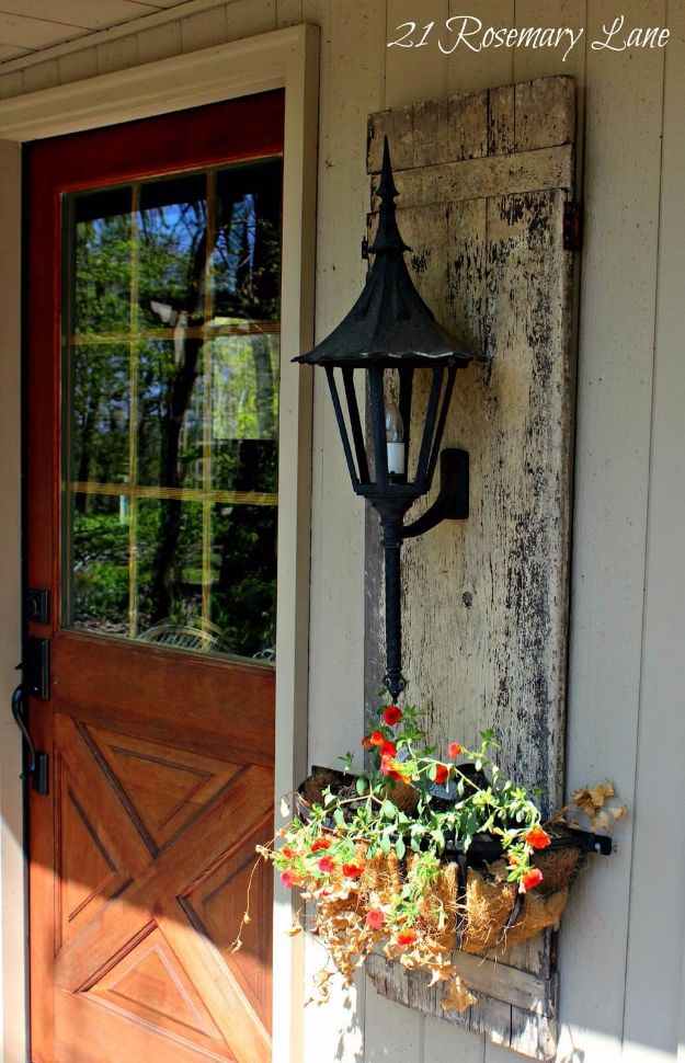 DIY Porch and Patio Ideas - Shuttered Planter's Lantern Wall Mount - Decor Projects and Furniture Tutorials You Can Build for the Outdoors - Lights and Lighting, Mason Jar Crafts, Rocking Chairs, Wreaths, Swings, Bench, Cushions, Chairs, Daybeds and Pallet Signs