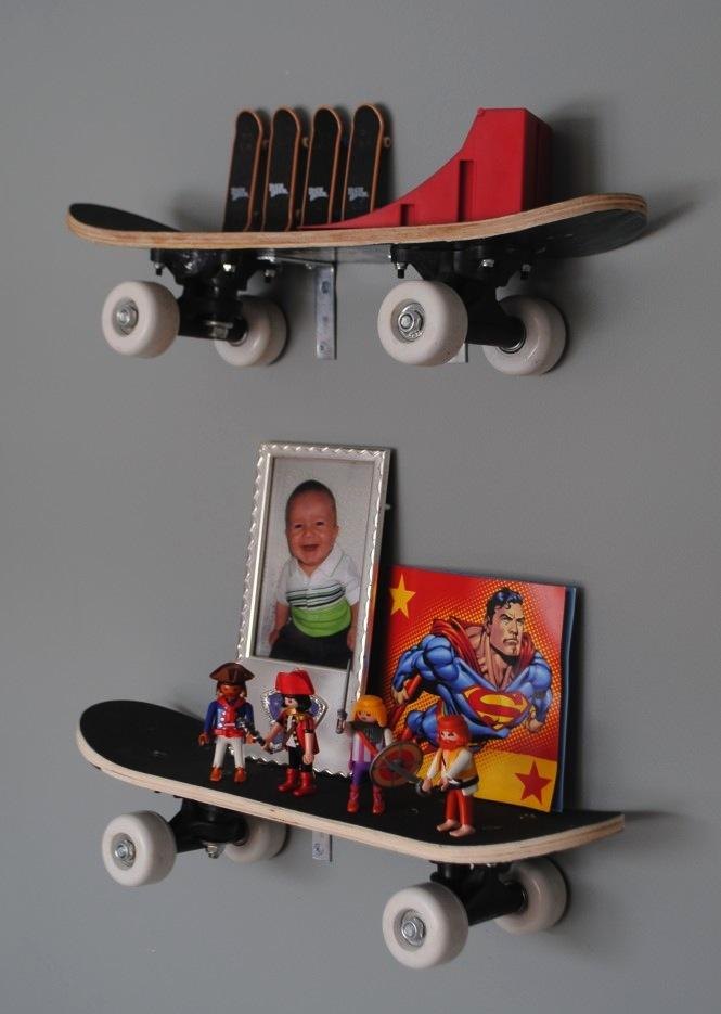 DIY Playroom Ideas and Furniture - Skateboard Shelves - Easy Play Room Storage, Furniture Ideas for Kids, Playtime Rugs and Activity Mats, Shelving, Toy Boxes and Wall Art - Cute DIY Room Decor for Boys and Girls - Fun Crafts with Step by Step Tutorials and Instructions http://diyjoy.com/diy-playroom-ideas
