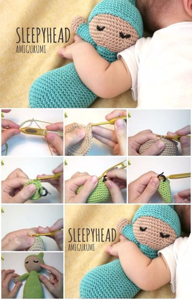 Free Amigurumi Patterns For Beginners and Pros - Sleepyhead Amigurumi - Easy Amigurimi Tutorials With Step by Step Instructions - Learn How To Crochet Cute Amigurimi Animals, Doll, Mobile, Mini Elephant, Cat, Dinosaur, Owl, Bunny, Dog - Creative Ways to Crochet Cool DIY Gifts for Kids, Teens, Baby and Adults #amigurumi #crochet