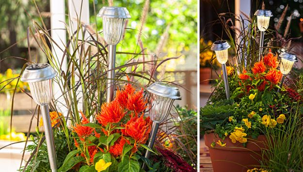 DIY Outdoor Lighting Ideas - Solar Light Planter - Do It Yourself Lighting Ideas for the Backyard, Patio, Porch and Pool - Lights, Chandeliers, Lamps and String Lights for Your Outdoors - Dining Table and Chair Lighting, Overhead, Sconces and Weatherproof Projects #diy #lighting