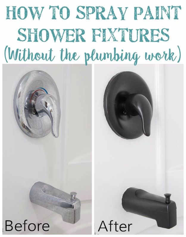 DIY Remodeling Hacks - Cheap Home Improvement Ideas - Spray Paint Shower Fixtures - Quick and Easy Home Repair Tips and Tricks - Cool Hacks for DIY Home Improvement Ideas - Cheap Ways To Fix Bathroom, Bedroom, Kitchen, Outdoor, Living Room and Lighting - Creative Renovation on A Budget - DIY Projects and Crafts by DIY JOY #remodeling #homeimprovement #diy #hacks