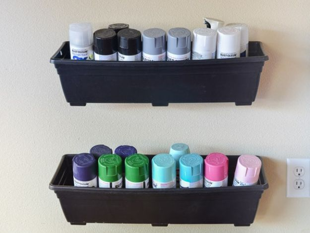 DIY Projects Your Garage Needs - Spray Paint Storage - Do It Yourself Garage Makeover Ideas Include Storage, Mudroom, Organization, Shelves, and Project Plans for Cool New Garage Decor - Easy Home Decor on A Budget http://diyjoy.com/diy-garage-ideas