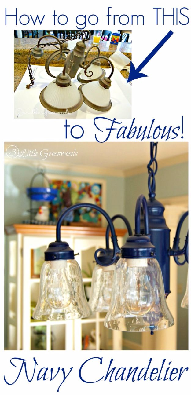 DIY Chandelier Makeovers - Spray Painting A Chandelier Navy - Easy Ideas for Old Brass, Crystal and Ugly Gold Chandelier Makeover - Cool Before and After Projects for Chandeliers - Farmhouse, Shabby Chic and Vintage Home Decor on A Budget - Living Room, Bedroom and Dining Room Idea DIY Joy Projects and Crafts http://diyjoy.com/diy-chandelier-makeovers