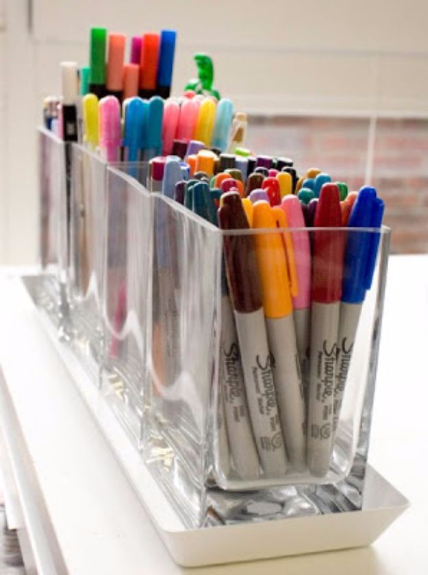 DIY Craft Room Storage Ideas and Craft Room Organization Projects - Square Vases Marker Storage - Cool Ideas for Do It Yourself Craft Storage, Craft Room Decor and Organizing Project Ideas - fabric, paper, pens, creative tools, crafts supplies, shelves and sewing notions #diyideas #craftroom