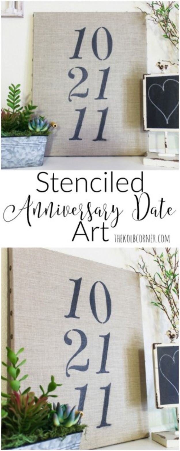 Farmhouse Decor to Make And Sell - Stenciled Anniversary Date Art - Easy DIY Home Decor and Rustic Craft Ideas - Step by Step Country Crafts, Farmhouse Decor To Make and Sell on Etsy and at Craft Fairs - Tutorials and Instructions for Creative Ways to Make Money - Best Vintage Farmhouse DIY For Living Room, Bedroom, Walls and Gifts #diydecor