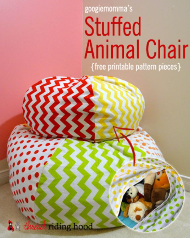 DIY Playroom Ideas and Furniture - Stuffed Animal Chair - Easy Play Room Storage, Furniture Ideas for Kids, Playtime Rugs and Activity Mats, Shelving, Toy Boxes and Wall Art - Cute DIY Room Decor for Boys and Girls - Fun Crafts with Step by Step Tutorials and Instructions http://diyjoy.com/diy-playroom-ideas