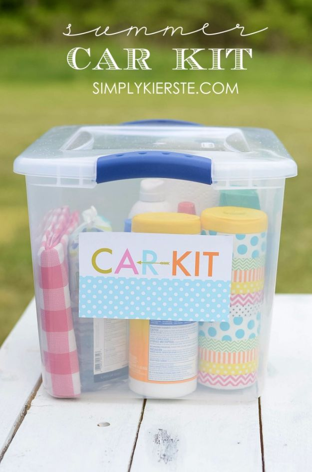 Best DIY Ideas for a Summer Road Trip - Summer Car Kit - Cool Crafts and Easy Projects to Make For Road Trips in the Car - Fun Crafts to Make for Vacation - Creative Ideas for Making Cheap Travel Ideas With Creative Money Saving Tips http://diyjoy.com/diy-ideas-summer-road-trip