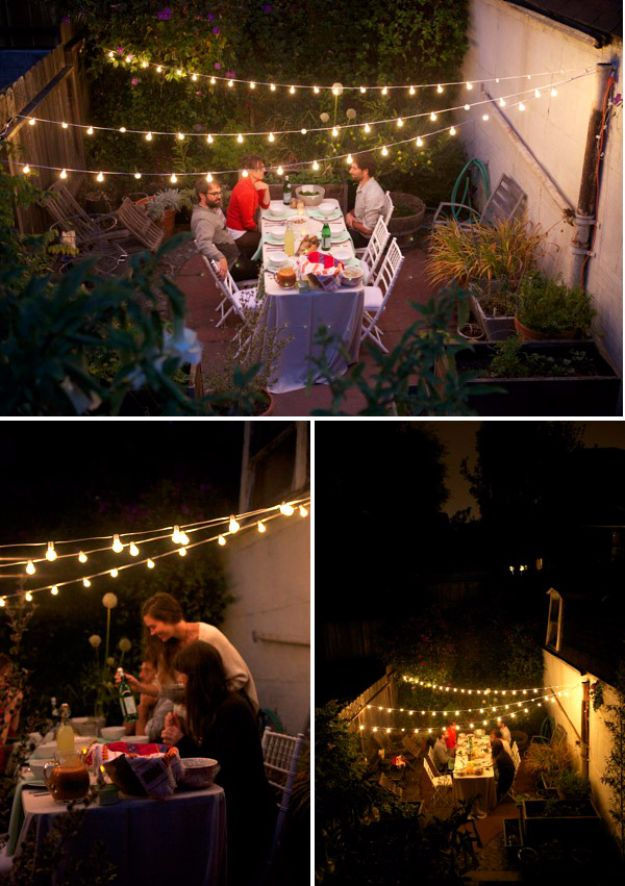 DIY Outdoor Lighting Ideas - Summer Garden Party Lights - Do It Yourself Lighting Ideas for the Backyard, Patio, Porch and Pool - Lights, Chandeliers, Lamps and String Lights for Your Outdoors - Dining Table and Chair Lighting, Overhead, Sconces and Weatherproof Projects #diy #lighting