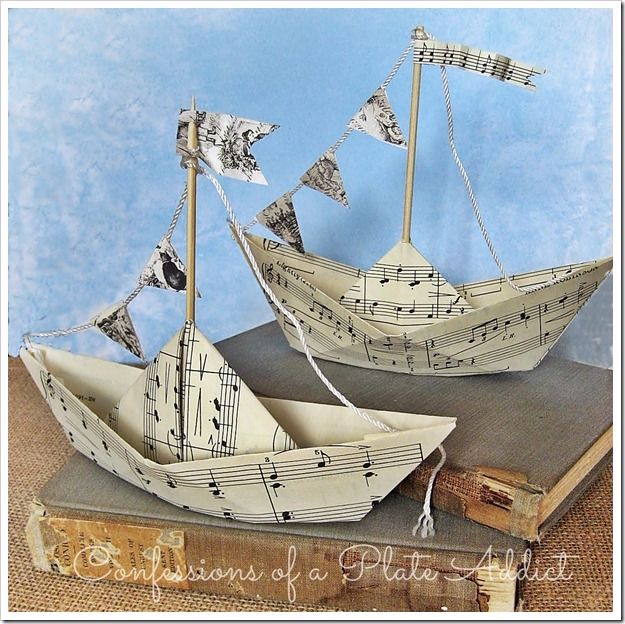 Country Crafts to Make And Sell - Summery Sheet Music Sailboats - Easy DIY Home Decor and Rustic Craft Ideas - Step by Step Farmhouse Decor To Make and Sell on Etsy and at Craft Fairs - Tutorials and Instructions for Creative Ways to Make Money - Best Vintage Farmhouse DIY For Living Room, Bedroom, Walls and Gifts #craftstosell #countrycrafts #etsyideas