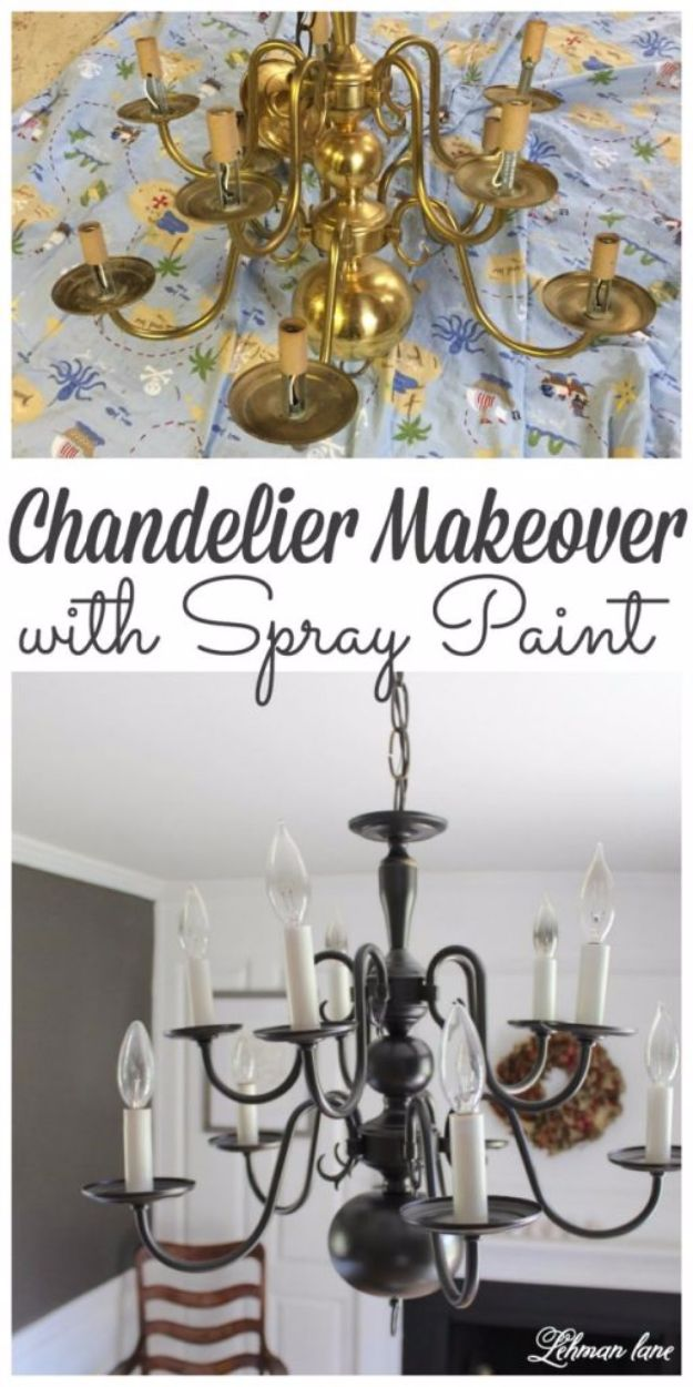 DIY Chandelier Makeovers - Super Easy Chandelier Makeover With Spray Paint - Easy Ideas for Old Brass, Crystal and Ugly Gold Chandelier Makeover - Cool Before and After Projects for Chandeliers - Farmhouse, Shabby Chic and Vintage Home Decor on A Budget - Living Room, Bedroom and Dining Room Idea DIY Joy Projects and Crafts