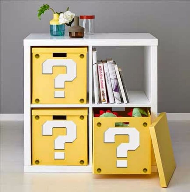 DIY Media Room Ideas - Super Mario Question Mark Block Shelf - Do It Yourslef TV Consoles, Wall Art, Sofas and Seating, Chairs, TV Stands, Remote Holders and Shelving Tutorials - Creative Furniture for Movie Rooms and Video Game Stations #mediaroom #diydecor