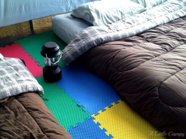 DIY Camping Hacks - Tent Camping With Foam Floor Tiles - Easy Tips and Tricks, Recipes for Camping - Gear Ideas, Cheap Camping Supplies, Tutorials for Making Quick Camping Food, Fire Starters, Gear Holders and More http://diyjoy.com/camping-hacks