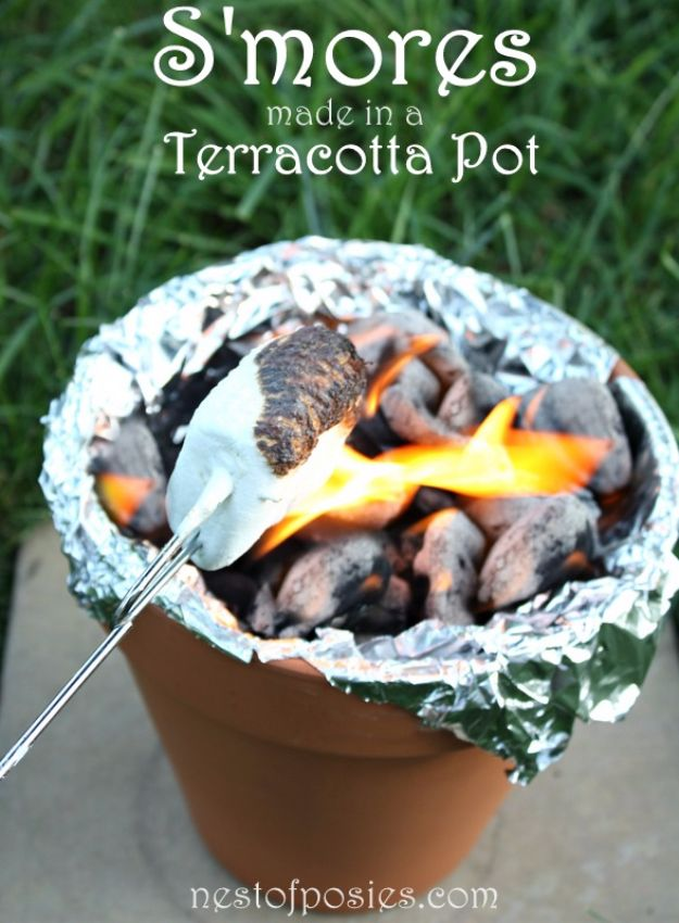 DIY Camping Hacks - Terracotta Fire Pit - Easy Tips and Tricks, Recipes for Camping - Gear Ideas, Cheap Camping Supplies, Tutorials for Making Quick Camping Food, Fire Starters, Gear Holders and More