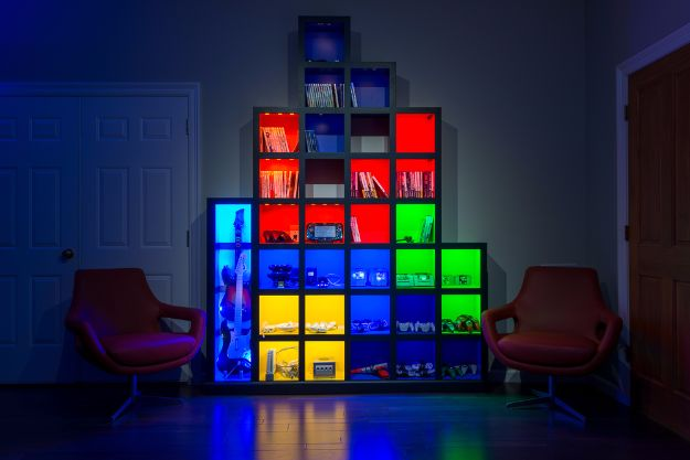 DIY Media Room Ideas - Tetris Wall - Do It Yourslef TV Consoles, Wall Art, Sofas and Seating, Chairs, TV Stands, Remote Holders and Shelving Tutorials - Creative Furniture for Movie Rooms and Video Game Stations #mediaroom #diydecor