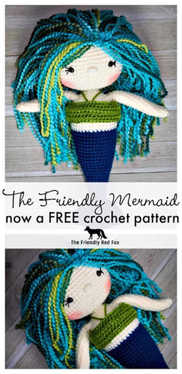 Free Amigurumi Patterns For Beginners and Pros - The Friendly Mermaid - Easy Amigurimi Tutorials With Step by Step Instructions - Learn How To Crochet Cute Amigurimi Animals, Doll, Mobile, Mini Elephant, Cat, Dinosaur, Owl, Bunny, Dog - Creative Ways to Crochet Cool DIY Gifts for Kids, Teens, Baby and Adults #amigurumi #crochet