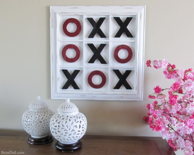 DIY Media Room Ideas - Tic Tac Toe Wall Art - Do It Yourslef TV Consoles, Wall Art, Sofas and Seating, Chairs, TV Stands, Remote Holders and Shelving Tutorials - Creative Furniture for Movie Rooms and Video Game Stations #mediaroom #diydecor