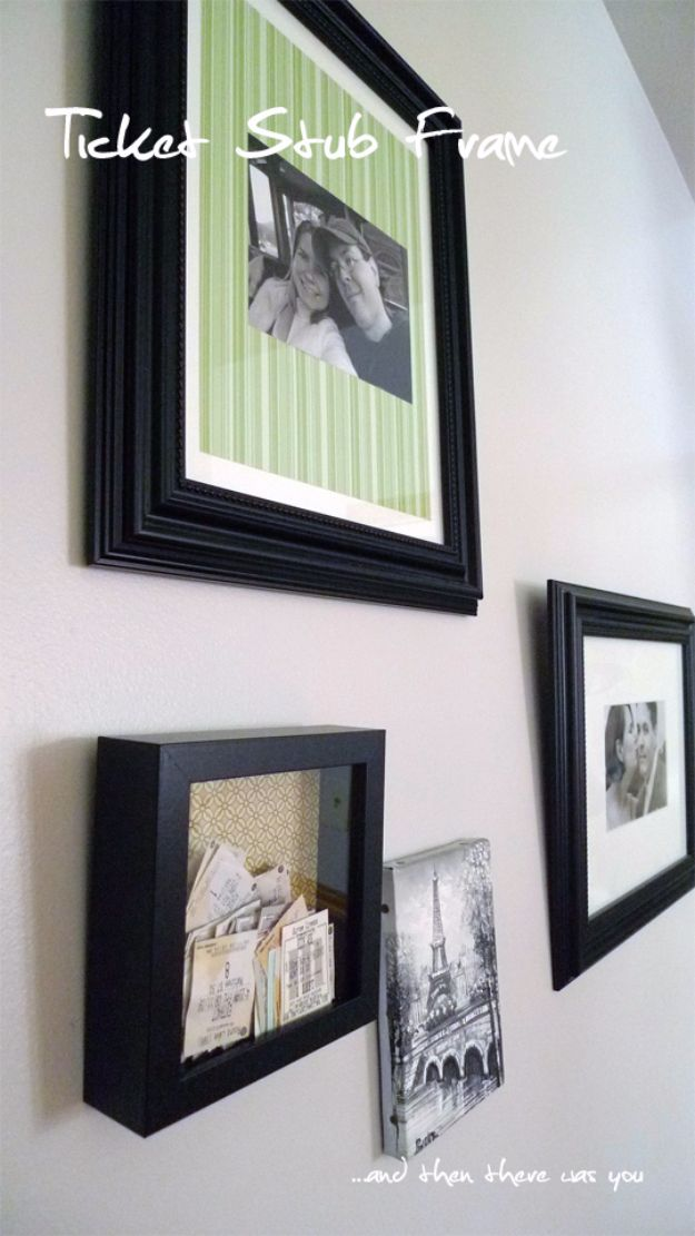 DIY Media Room Ideas - Ticket Stub Frame - Do It Yourslef TV Consoles, Wall Art, Sofas and Seating, Chairs, TV Stands, Remote Holders and Shelving Tutorials - Creative Furniture for Movie Rooms and Video Game Stations http://diyjoy.com/diy-media-room-ideas
