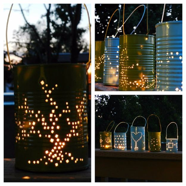 DIY Outdoor Lighting Ideas - Tin Can Lanterns - Do It Yourself Lighting Ideas for the Backyard, Patio, Porch and Pool - Lights, Chandeliers, Lamps and String Lights for Your Outdoors - Dining Table and Chair Lighting, Overhead, Sconces and Weatherproof Projects #diy #lighting