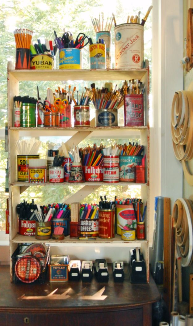 DIY Craft Room Storage Ideas and Craft Room Organization Projects - Tin Can Storage - Cool Ideas for Do It Yourself Craft Storage, Craft Room Decor and Organizing Project Ideas - fabric, paper, pens, creative tools, crafts supplies, shelves and sewing notions http://diyjoy.com/diy-craft-room-storage