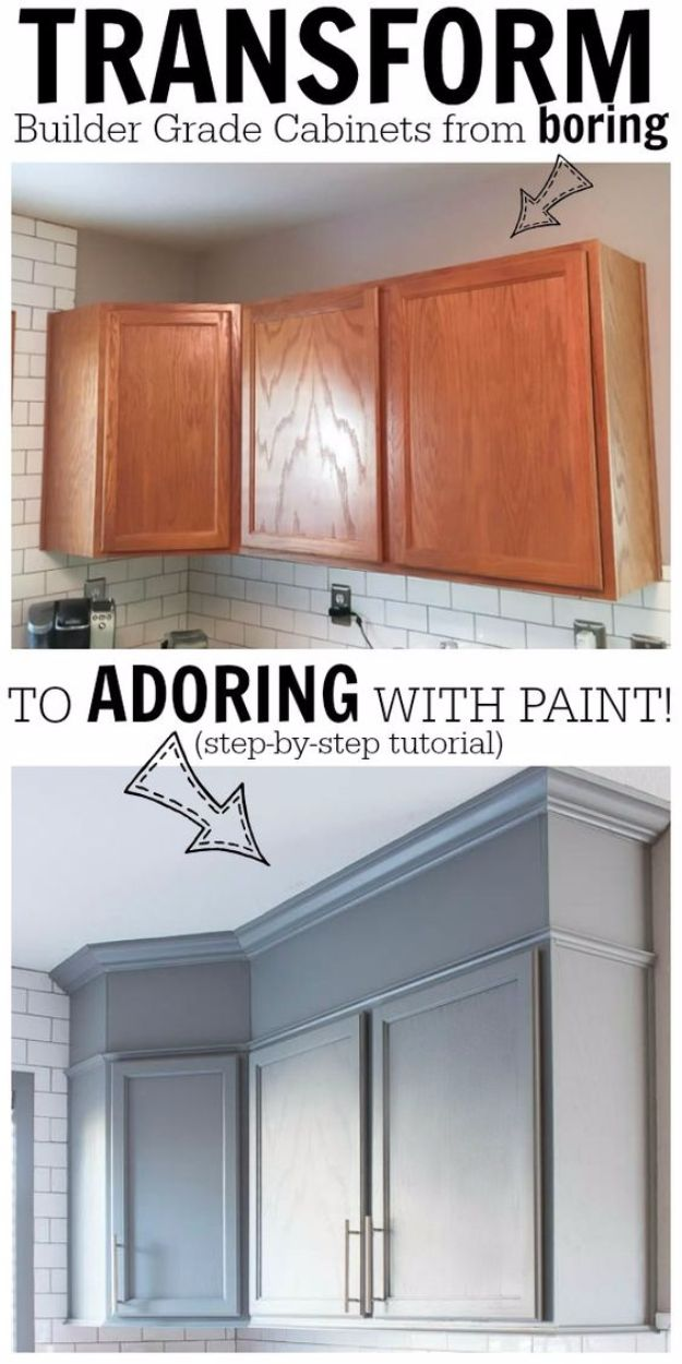 DIY Home Improvement Projects On A Budget - Transform Boring Cabinets - Cool Home Improvement Hacks, Easy and Cheap Do It Yourself Tutorials for Updating and Renovating Your House - Home Decor Tips and Tricks, Remodeling ideas