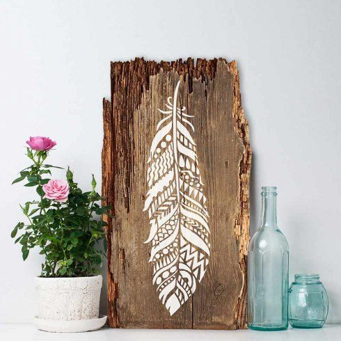 DIY Stencil Ideas - Tribal Feather Wall Art - Cool and Easy Stenciling Tutorials For Making Handmade Wallpaper and Designs, Furniture Makeover Ideas and Crafty Modern Decor With Stencils - Rustic Farmhouse Paint Techniques and Step by Step Instructions for Using Stencil Art in Your Living Room, Bedroom, Bathroom and Crafts