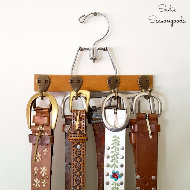 Farmhouse Decor to Make And Sell - Trouser Hanger Turned Belt Organizer - Easy DIY Home Decor and Rustic Craft Ideas - Step by Step Country Crafts, Farmhouse Decor To Make and Sell on Etsy and at Craft Fairs - Tutorials and Instructions for Creative Ways to Make Money - Best Vintage Farmhouse DIY For Living Room, Bedroom, Walls and Gifts #diydecor