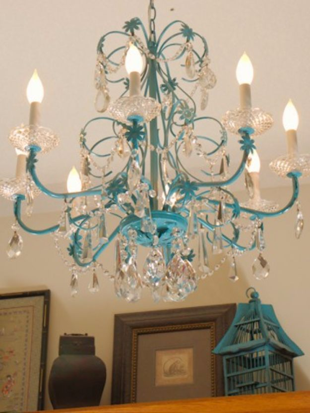 DIY Chandelier Makeovers - Turquoise Chandelier Redo - Easy Ideas for Old Brass, Crystal and Ugly Gold Chandelier Makeover - Cool Before and After Projects for Chandeliers - Farmhouse, Shabby Chic and Vintage Home Decor on A Budget - Living Room, Bedroom and Dining Room Idea DIY Joy Projects and Crafts