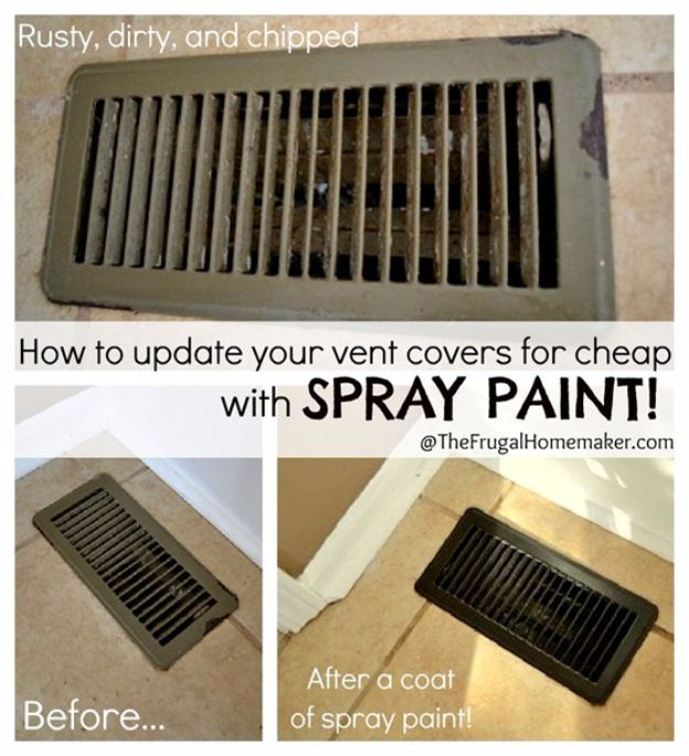 DIY Remodeling Hacks - Update Vent Covers With Spray Paint - Quick and Easy Home Repair Tips and Tricks - Cool Hacks for DIY Home Improvement Ideas - Cheap Ways To Fix Bathroom, Bedroom, Kitchen, Outdoor, Living Room and Lighting - Creative Renovation on A Budget - DIY Projects and Crafts by DIY JOY #remodeling #homeimprovement #diy #hacks