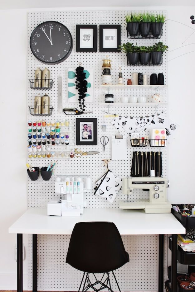 DIY Craft Room Ideas and Craft Room Organization Projects - Upgrade Your Craft Room Workspace - Cool Ideas for Do It Yourself Craft Storage, Craft Room Decor and Organizing Project Ideas - fabric, paper, pens, creative tools, crafts supplies, shelves and sewing notions http://diyjoy.com/craft-room-organizing-ideas