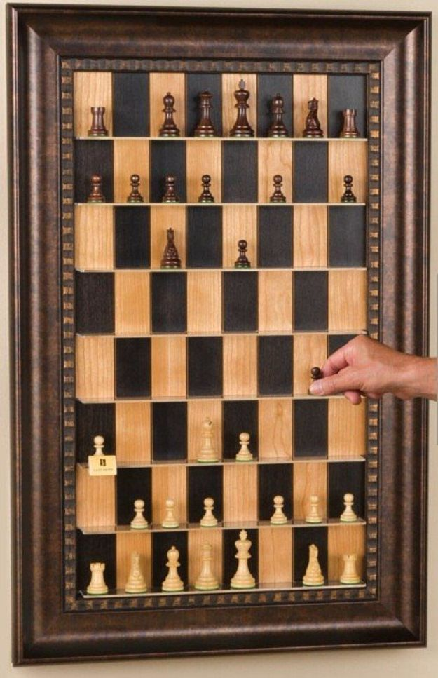 DIY Media Room Ideas - Vertical Wall-Mounted Chessboard - Do It Yourslef TV Consoles, Wall Art, Sofas and Seating, Chairs, TV Stands, Remote Holders and Shelving Tutorials - Creative Furniture for Movie Rooms and Video Game Stations #mediaroom #diydecor