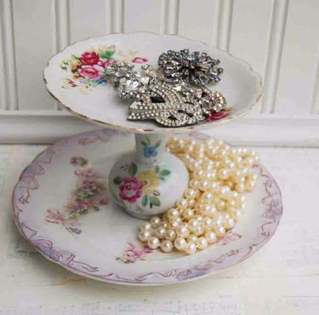 Country Crafts to Make And Sell - Vintage China Jewelry Stand - Easy DIY Home Decor and Rustic Craft Ideas - Step by Step Farmhouse Decor To Make and Sell on Etsy and at Craft Fairs - Tutorials and Instructions for Creative Ways to Make Money - Best Vintage Farmhouse DIY For Living Room, Bedroom, Walls and Gifts #craftstosell #countrycrafts #etsyideas