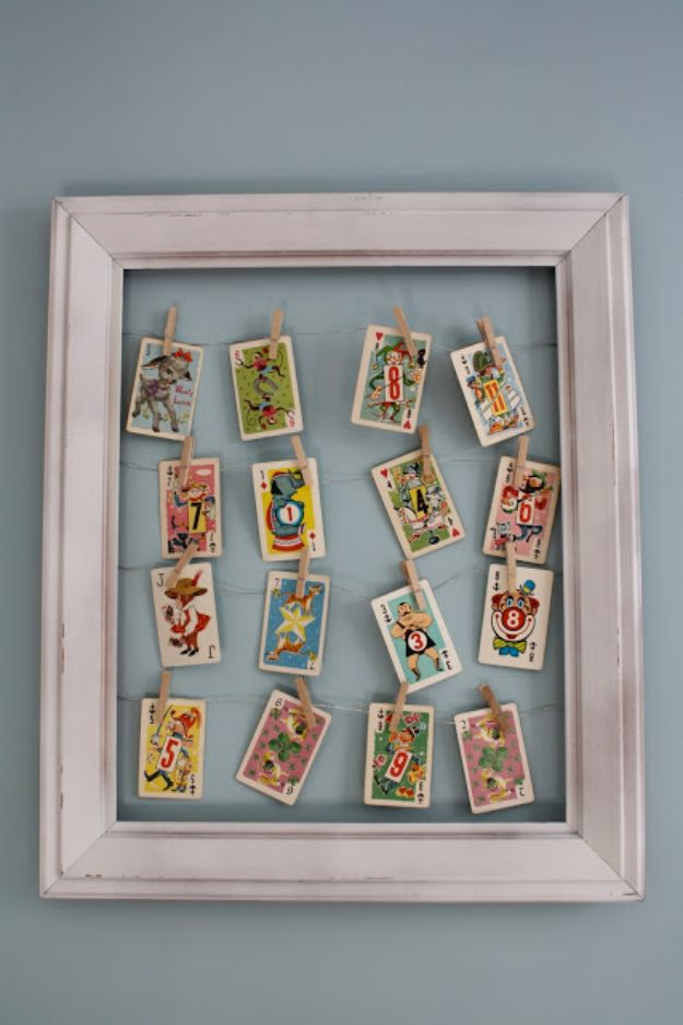 DIY Media Room Ideas - Vintage Playing Cards Frame - Do It Yourslef TV Consoles, Wall Art, Sofas and Seating, Chairs, TV Stands, Remote Holders and Shelving Tutorials - Creative Furniture for Movie Rooms and Video Game Stations #mediaroom #diydecor