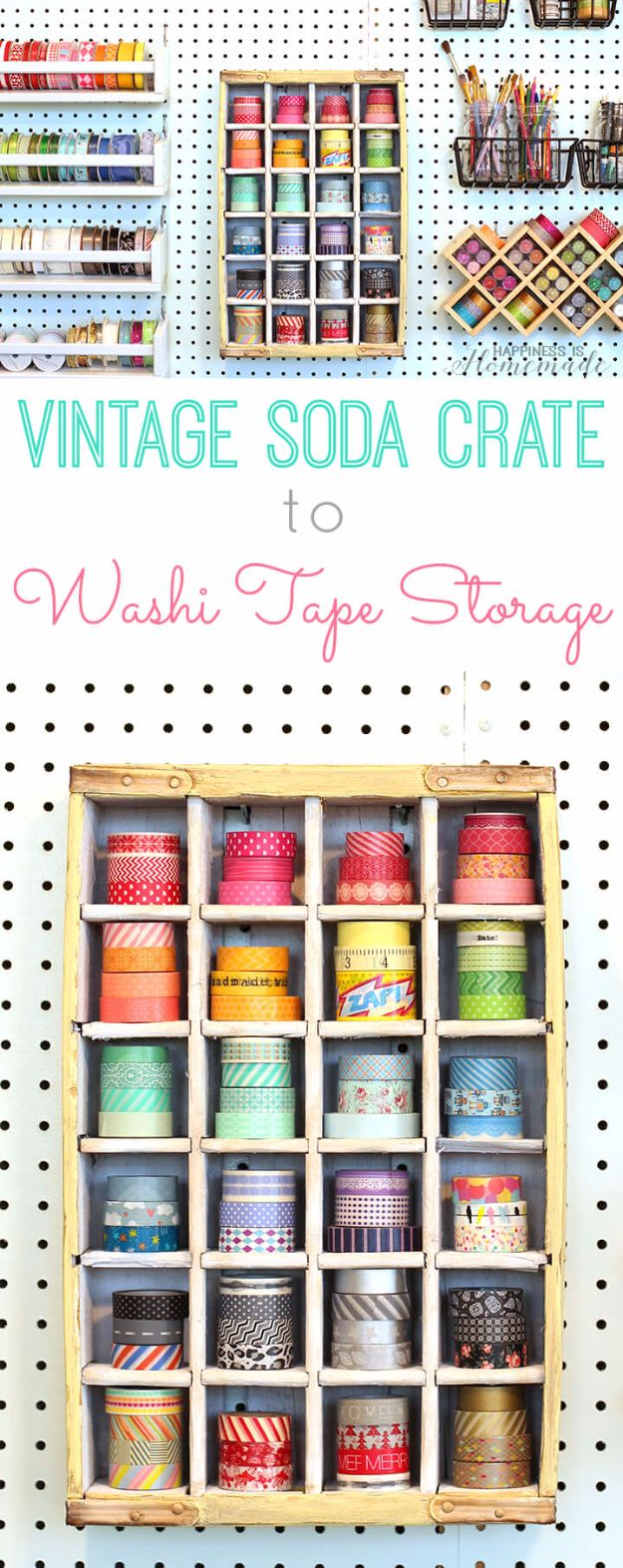 DIY Craft Room Storage Ideas and Craft Room Organization Projects - Vintage Soda Crate Storage - Cool Ideas for Do It Yourself Craft Storage, Craft Room Decor and Organizing Project Ideas - fabric, paper, pens, creative tools, crafts supplies, shelves and sewing notions http://diyjoy.com/diy-craft-room-storage