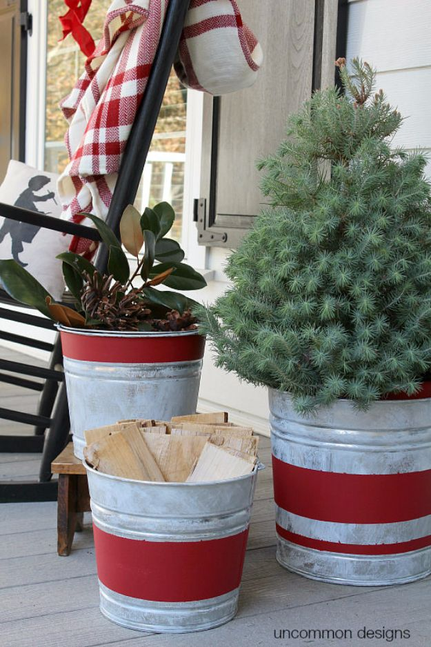 Country Crafts to Make And Sell - Vintage Stripe Aged Galvanized Buckets - Easy DIY Home Decor and Rustic Craft Ideas - Step by Step Farmhouse Decor To Make and Sell on Etsy and at Craft Fairs - Tutorials and Instructions for Creative Ways to Make Money - Best Vintage Farmhouse DIY For Living Room, Bedroom, Walls and Gifts #craftstosell #countrycrafts #etsyideas