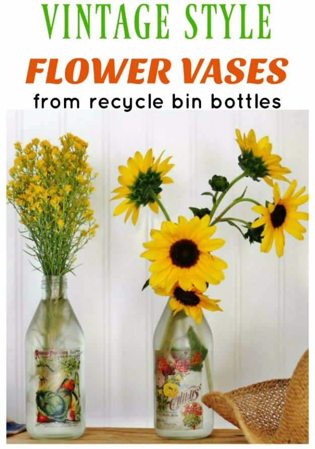 Farmhouse Decor to Make And Sell - Vintage Style Flower Vase - Easy DIY Home Decor and Rustic Craft Ideas - Step by Step Country Crafts, Farmhouse Decor To Make and Sell on Etsy and at Craft Fairs - Tutorials and Instructions for Creative Ways to Make Money - Best Vintage Farmhouse DIY For Living Room, Bedroom, Walls and Gifts #diydecor