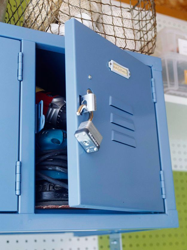 DIY Projects Your Garage Needs - Wall Mounted Locker - Do It Yourself Garage Makeover Ideas Include Storage, Mudroom, Organization, Shelves, and Project Plans for Cool New Garage Decor - Easy Home Decor on A Budget http://diyjoy.com/diy-garage-ideas
