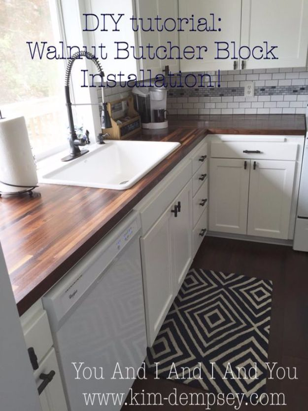 DIY Home Improvement Projects On A Budget - Walnut Butcher Block Installation - Cool Home Improvement Hacks, Easy and Cheap Do It Yourself Tutorials for Updating and Renovating Your House - Home Decor Tips and Tricks, Remodeling and Decorating Hacks - DIY Projects