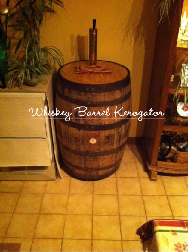 DIY Ideas With Old Barrels - Whiskey Barrel Kerogator - Rustic Farmhouse Decor Tutorials and Projects Made With a Barrel - Easy Vintage Home Decor for Kitchen, Living Room and Bathroom - Creative Country Crafts, Dog Beds, Seating, Furniture, Patio Decor and Rustic Wall Art and Accessories to Make and Sell tp://diyjoy.com/diy-projects-old-barrels
