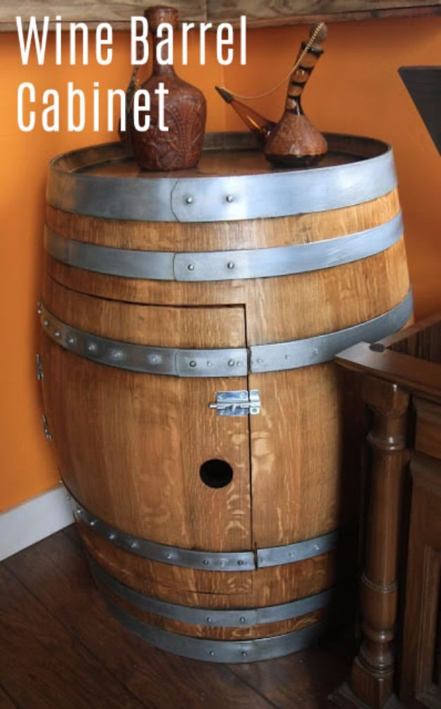 DIY Ideas With Old Barrels - Wine Barrel Cabinet - Rustic Farmhouse Decor Tutorials and Projects Made With a Barrel - Easy Vintage Home Decor for Kitchen, Living Room and Bathroom - Creative Country Crafts, Dog Beds, Seating, Furniture, Patio Decor and Rustic Wall Art and Accessories to Make and Sell tp://diyjoy.com/diy-projects-old-barrels