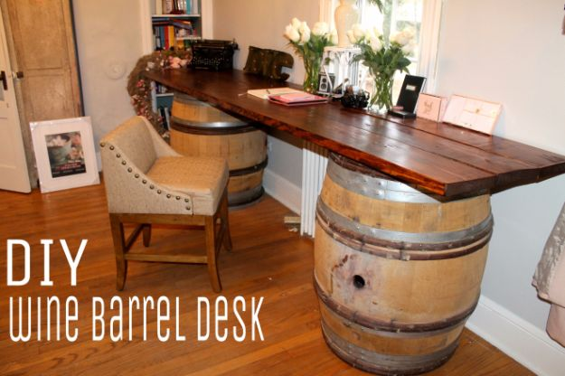 DIY Ideas With Old Barrels - Wine Barrel Desk - Rustic Farmhouse Decor Tutorials and Projects Made With a Barrel - Easy Vintage Home Decor for Kitchen, Living Room and Bathroom - Creative Country Crafts, Dog Beds, Seating, Furniture, Patio Decor and Rustic Wall Art and Accessories to Make and Sell tp://diyjoy.com/diy-projects-old-barrels