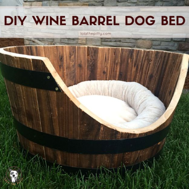 DIY Ideas With Old Barrels - Wine Barrel Dog Bed - Rustic Farmhouse Decor Tutorials and Projects Made With a Barrel - Easy Vintage Home Decor for Kitchen, Living Room and Bathroom - Creative Country Crafts, Dog Beds, Seating, Furniture, Patio Decor and Rustic Wall Art and Accessories to Make and Sell