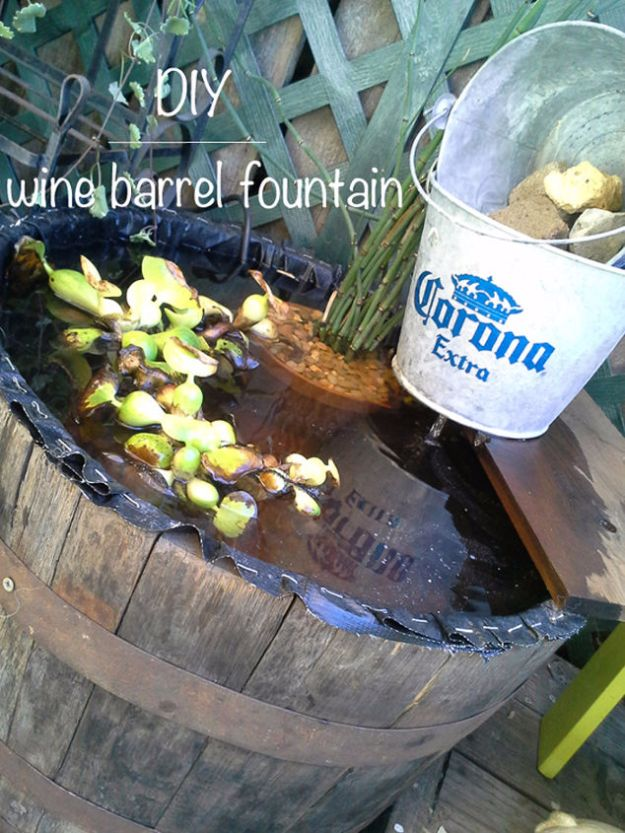 DIY Ideas With Old Barrels - Wine Barrel Fountain - Rustic Farmhouse Decor Tutorials and Projects Made With a Barrel - Easy Vintage Home Decor for Kitchen, Living Room and Bathroom - Creative Country Crafts, Dog Beds, Seating, Furniture, Patio Decor and Rustic Wall Art and Accessories to Make and Sell tp://diyjoy.com/diy-projects-old-barrels