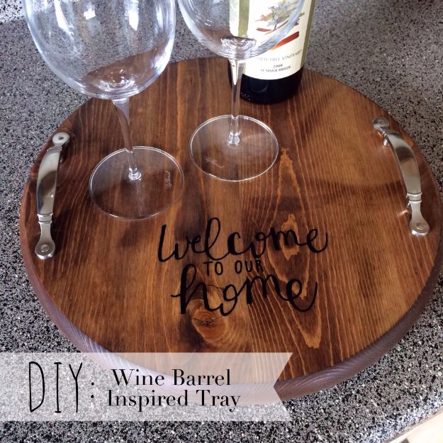 DIY Ideas With Old Barrels - Wine Barrel Inspired Tray - Rustic Farmhouse Decor Tutorials and Projects Made With a Barrel - Easy Vintage Home Decor for Kitchen, Living Room and Bathroom - Creative Country Crafts, Dog Beds, Seating, Furniture, Patio Decor and Rustic Wall Art and Accessories to Make and Sell tp://diyjoy.com/diy-projects-old-barrels