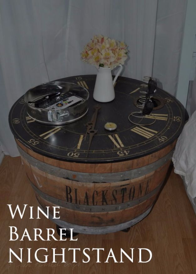 DIY Ideas With Old Barrels - Wine Barrel Nightstand - Rustic Farmhouse Decor Tutorials and Projects Made With a Barrel - Easy Vintage Home Decor for Kitchen, Living Room and Bathroom - Creative Country Crafts, Dog Beds, Seating, Furniture, Patio Decor and Rustic Wall Art and Accessories to Make and Sell tp://diyjoy.com/diy-projects-old-barrels